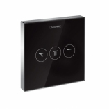 HANSGROHE ShowerSelect Glass. Zawór odcinający dla 3 odbiorników CZARNY/CHROM