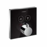 HANSGROHE ShowerSelect Glass. Bateria termostatyczna do 2 odbiorników CZARNY/CHROM
